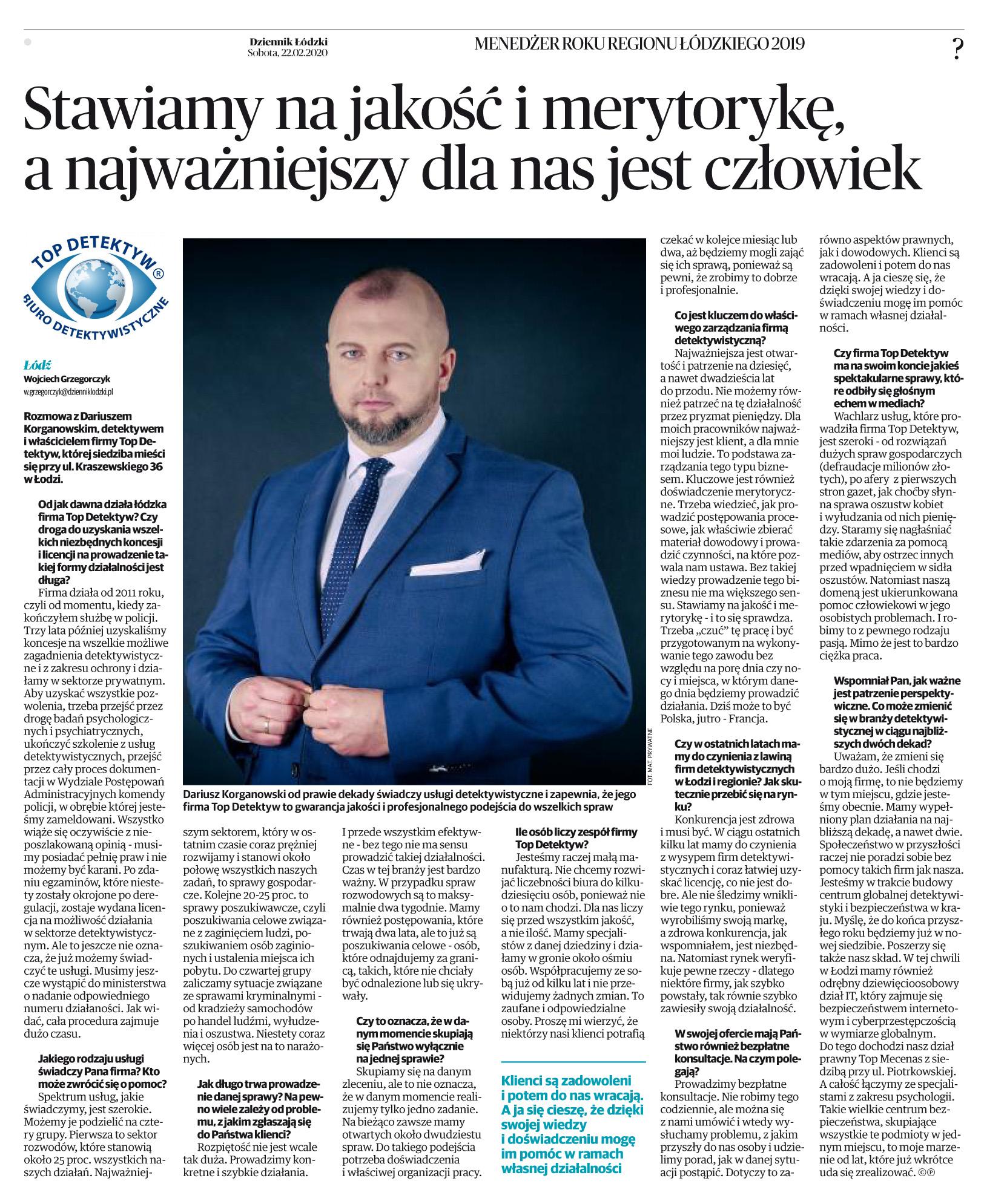 LO Menedżer Roku - 2020 - Top Detektyw - Dziennik Łódzki